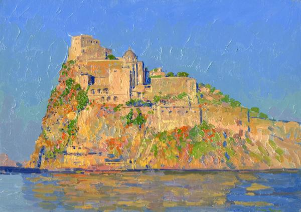 Simon Leonidovitch Kozhin, ‪#‎artpeople‬ www.artpeoplegallery.com. Aragonese Castle at sunset. Ponte Aragonese. Ischia. Italy. 2013. Oil on canvas on cardboard, oil. 25 x 35 cm.