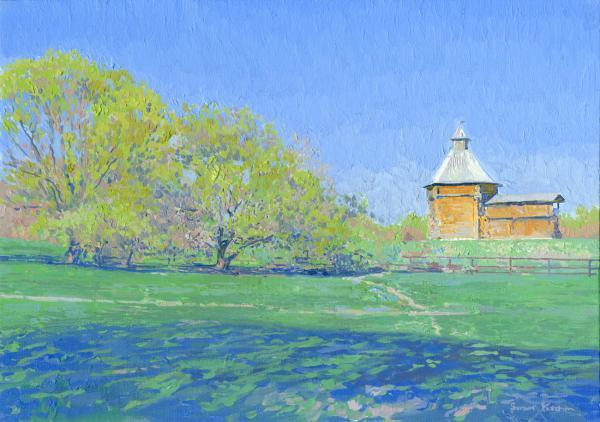 Simon Kozhin. Sumsky ostrog tower (Mokhovaya) XVII century. Kolomenskoye. 2014 Oil on canvas on cardboard, oil. 25 x 35 cm.