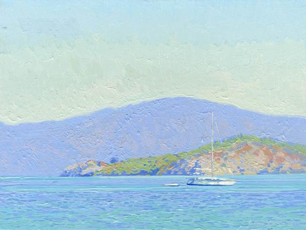 Simon Kozhin. Icmeler Bay. Turkey. 2014 Oil on canvas and painting on canvas. 18 x 24 cm.