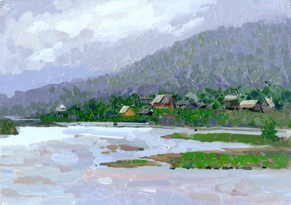 Семён Кожин. Туман. Деревня Колвица. Кольский полуостров.