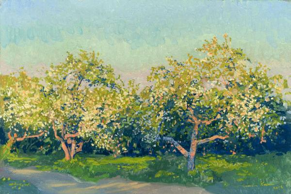Simon Kozhin. May. Warm evening. Apple trees in bloom. 2014 Oil on canvas on cardboard, oil. 20 x 30 cm.