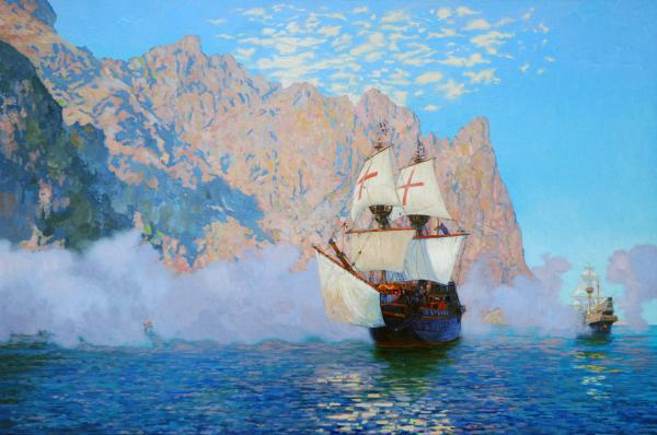 "Simon Kozhin. New Albion. Sir Francis Drake's ship ""Golden hind""."