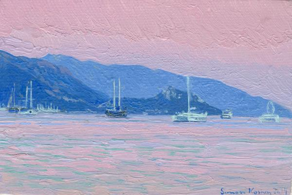Simon Kozhin. Evening. Marmaris. Turkey. 2014 Oil on canvas on board. 10 x 15 cm.