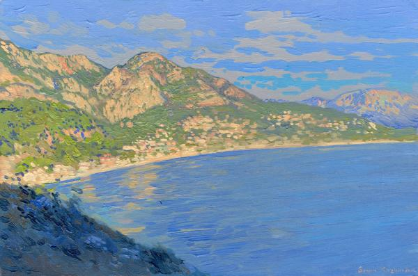 Simon Kozhin. Evening in Sutomore. Montenegro. 2014 Oil on canvas and painting on canvas. 30 x 20 cm.