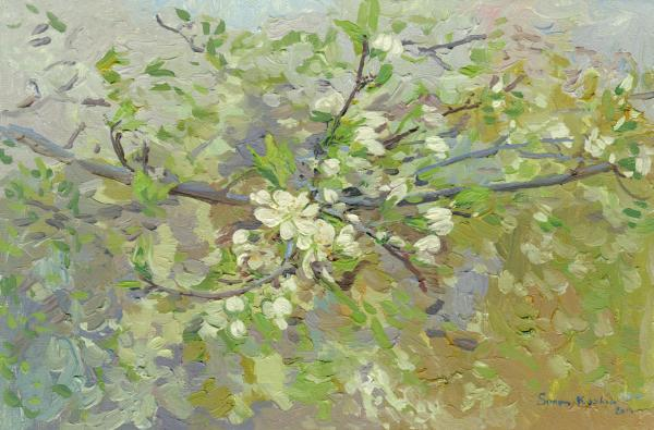 Simon Kozhin. Cherry blossoms branch. 2014 Oil on canvas on cardboard, oil. 20 x 30 cm.