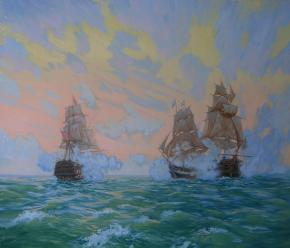 Семён Кожин. Бой Брига Меркурия с двумя Турецкими кораблями.