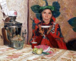 Simon Kozhin. Tea. A portrait Aunt Vera from the village Karmanovo.