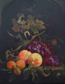 "Simon Kozhin. Сopy by Abraham Mignon ""Still life with peaches, grapes""."