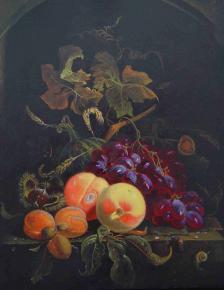 """Семён Кожин. Подражание Абрахаму Мингнону """"Натюрморт с персиками и виноградом""""."""