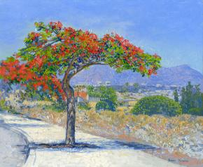 Simon Kozhin. Deloniks royal in blossoms. Canary Islands. Tenerife. Spain. 2013. Oil on canvas on cardboard, oil. 25 x 30 cm.