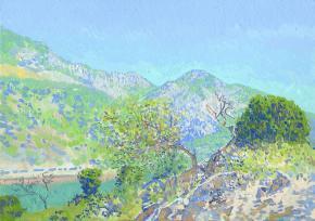 Семён Кожин. Дерево на склоне горы. Черногория. 2014. Холст на картине, масло. 25 х 35 см.