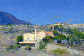 Simon Kozhin. Houses on the hillside. Costa Adeje. Canary Islands. Tenerife. Spain. 2013. Oil on canvas on cardboard, oil. 20 x 30 cm.
