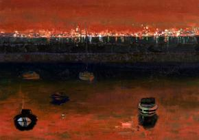 Simon Kozhin. Dublin, harbor in the Night.