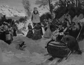 Семён Кожин. Эскиз. Масленица. Проводы зимы. XVII век. 2001. Бумага, гуашь. 23 х 30 см.