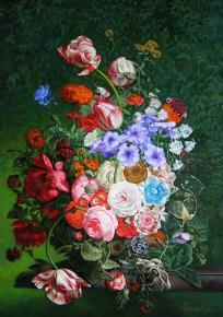 """Семён Кожин. Подражание фламандской живописи """"Натюрморт с цветами""""."""