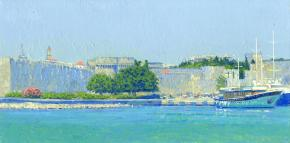 Simon Kozhin. Mandraki harbor. Rhodes. Greece. 2014. Oil on canvas on cardboard. 20 x 40 cm.