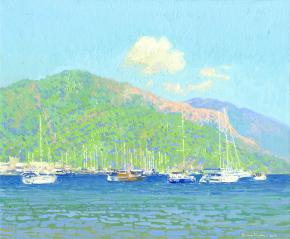 Simon Kozhin. Marmaris Harbour. Turkey. 2014. Canvas on cardboard, oil. 25 x30 cm.