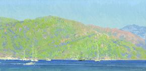 Simon Kozhin. Marmaris harbor In the evening. Turkey. 2014. Canvas on cardboard, oil. 20 x 40 cm.