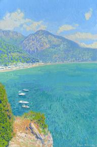 Simon Kozhin. Harbor in Sutomore. Montenegro. 2014 Oil on canvas and painting on canvas. 30 x 20 cm.