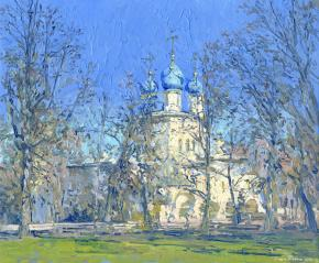 Simon Kozhin. Our Lady of Kazan Orthodox Cathedral in Kolomenskoye 2014 Oil on cardboard, oil. 25 x 30 cm.