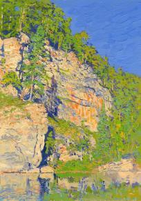 Simon Kozhin. The big Stone . Kyn. Chusovaia. 2015. Canvas on cardboard, oil. 35 x 25 cm.