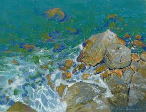 Simon Kozhin. Rocks by the sea. Sutomore. Montenegro. 2014 Oil on canvas. 18 x 24 cm.