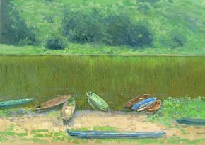 Simon Kozhin. Boats on the Chusovaya river. The Ust' Koiva. Urals. 2015. Canvas on cardboard, oil. 25 x 23 cm.