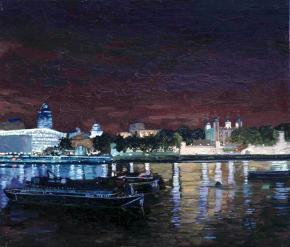Simon Kozhin. View of the City from the Thames.