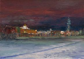 Simon Kozhin. Moscow at the Night. The Crimean embankment.
