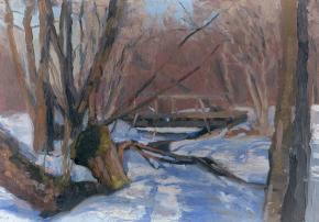 Simon Kozhin. Bridge. Tsaritsyno. 2001. Oil on cardboard. 20 x 30 cm. Artist Collection.