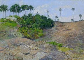 Simon Kozhin. Palm trees on the slopes. Llanos de Troya. Canary Islands. Tenerife. Spain. 2013. Oil on canvas on cardboard, oil. 25 x 35 cm.