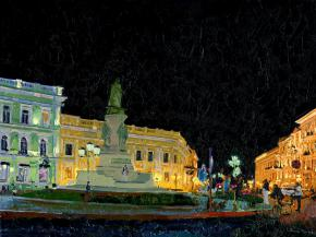 Simon Kozhin. Monument to Russian Empress Catherine II to Catherine's Square in Odessa at night.