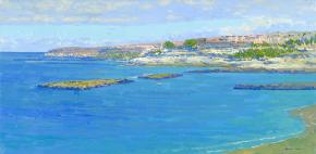 Simon Kozhin. Beach. Costa Adeje. Atlantic. Canary Islands. Tenerife. Spain. 2013. Oil on canvas on cardboard. 20 x 40 cm.