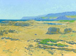 Семён Кожин. Побережье близ Малия. Пляж. Крит. 2012. Холст на картоне, масло. 30 х 40 см.