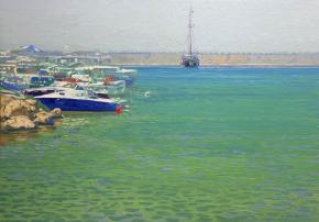 Simon Kozhin. In the afternoon. Port of Malia. 2012. Canvas on cardboard, oil. 25 x 35 cm.