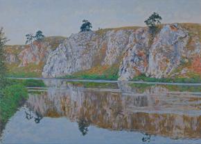 Simon Kozhin. Chusovaya River. Slobodsky stone. 2015. Oil on canvas. 50 x 70 cm.