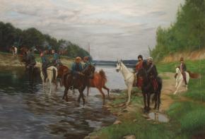 Simon Kozhin. Rubicon. Crossing the River by Denis Davydov Squadron. 1812.