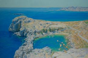 Simon Kozhin. The heart of Lindos. Rhodes. 2014. Oil on canvas. 60 x 90 cm.