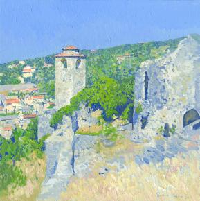 Simon Kozhin. Old Bar. Clock Tower. Montenegro. 2014 Oil on canvas and painting on canvas. 30 x 30 cm.