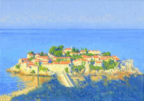 Simon Kozhin. Sveti Stefan in the morning. Montenegro. 2014. Oil on canvas. 25 x 35 cm.
