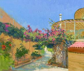 Simon Kozhin. Blossom of Bougainville. Malia. Crete. In 2012. Canvas on cardboard, oil. 30 x 35 cm.