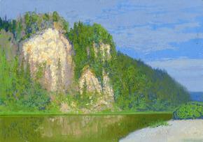 Simon Kozhin. The morning. Kolvinsky stone. Ust Koiva. Urals. 2015. Canvas on cardboard, oil. 25 x 23 cm.
