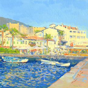Simon Kozhin. The evening sun. The port of Marmaris. Turkey. 2014. Oil on canvas on cardboard. 30 x 30 cm.