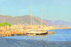 Simon Kozhin. The evening sun. Sailboats Marmaris. Turkey. 2014. Oil on canvas on cardboard. 20 x 30 cm.