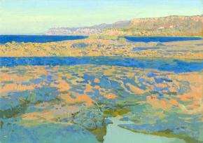 Simon Kozhin. The evening rays. Malia Bay. Crete. In 2012. Canvas on cardboard, oil. 25 x 35 cm.