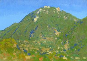 Simon Kozhin. Vertex Mount Epomeo volcano at evening. Forio. Ischia. Italy. 2013. Oil on canvas on cardboard, oil. 25 x 35 cm.