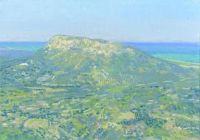 Simon Kozhin. View of the Diagoras hill. Rhodes. 2014. Oil on canvas on cardboard. 25 x 35 cm.