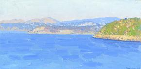 Simon Kozhin. View of the island of Procida and Vivara from the walls of the Aragonese Castle.  Ischia. Italy. 2013. Oil on canvas on cardboard, oil. 20 x 40 cm.