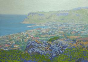 Simon Kozhin. View of the bay and the city of Sissi. Crete. In 2012. Canvas on cardboard, oil. 25 x 35 cm.