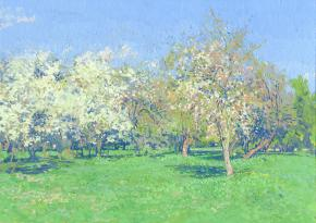 Simon Kozhin. The Cherry blossoms. Kolomenskoye. 2014. Oil on canvas on cardboard, oil. 25 x 35 cm.